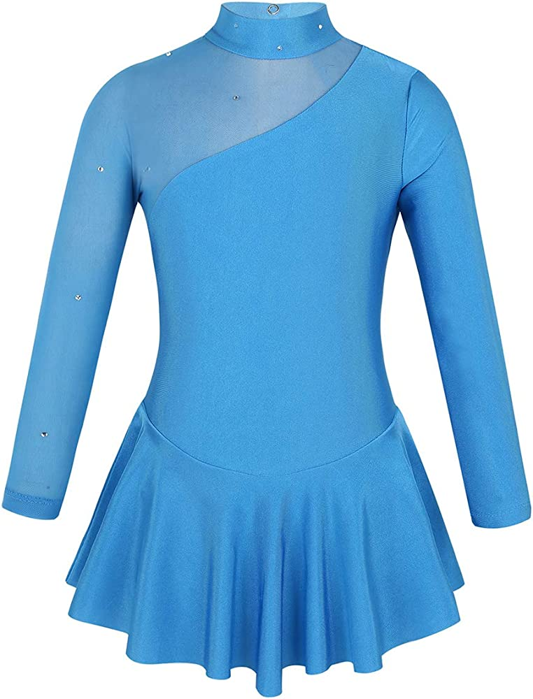 Freebily Vestido de Painaje Manga Larga Niñas Leotardo Vestido de Danza Ballet de Cuello Simulado Empalme De Tul Adornos con Lentejuelas Azul 4 Años: Amazon.es: Ropa y accesorios