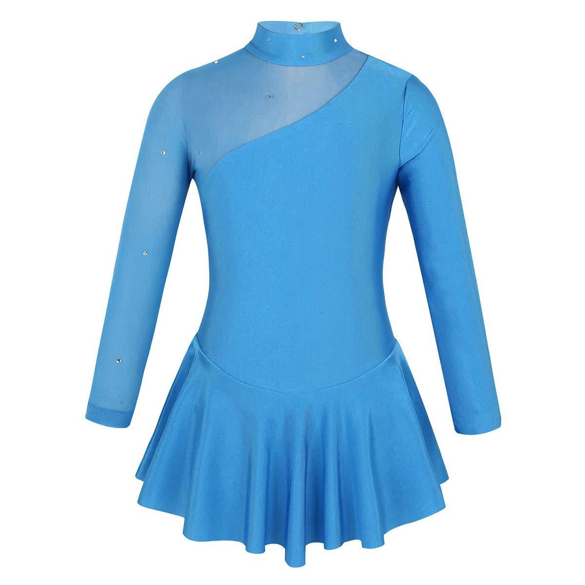 MSemis Kids Girls 2 Pieces Sequins Ballet Dance Dress Leotard Figure Ice Skating Dress Stage Performance Dance Costume