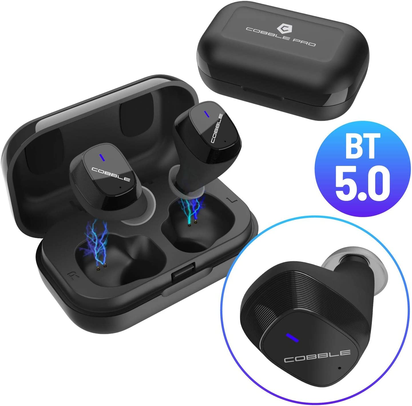 Cobble Pro True Wireless Earbuds BT 5.0 Auto Power On and Pairing in-Ear Sports Mini Earphones, HD Stereo Sound Headphones, Metallic Charging Case, Built-in Dual Mic, 20H Playtime [2019 New Version]