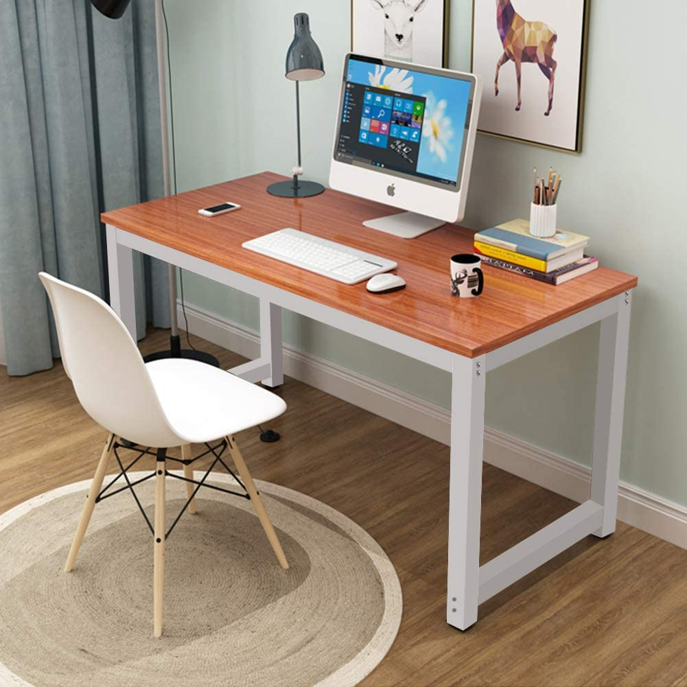 Toolsempire 47 Office Computer Desk PC Laptop Dining Table Study Writing Desk Workstation for Home Office Furniture Dark Brown