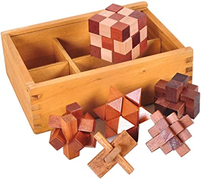 Chonor 6 Piezas Cubo Rompecabezas 3D de Madera del Enigma Juego Puzle con la Caja de