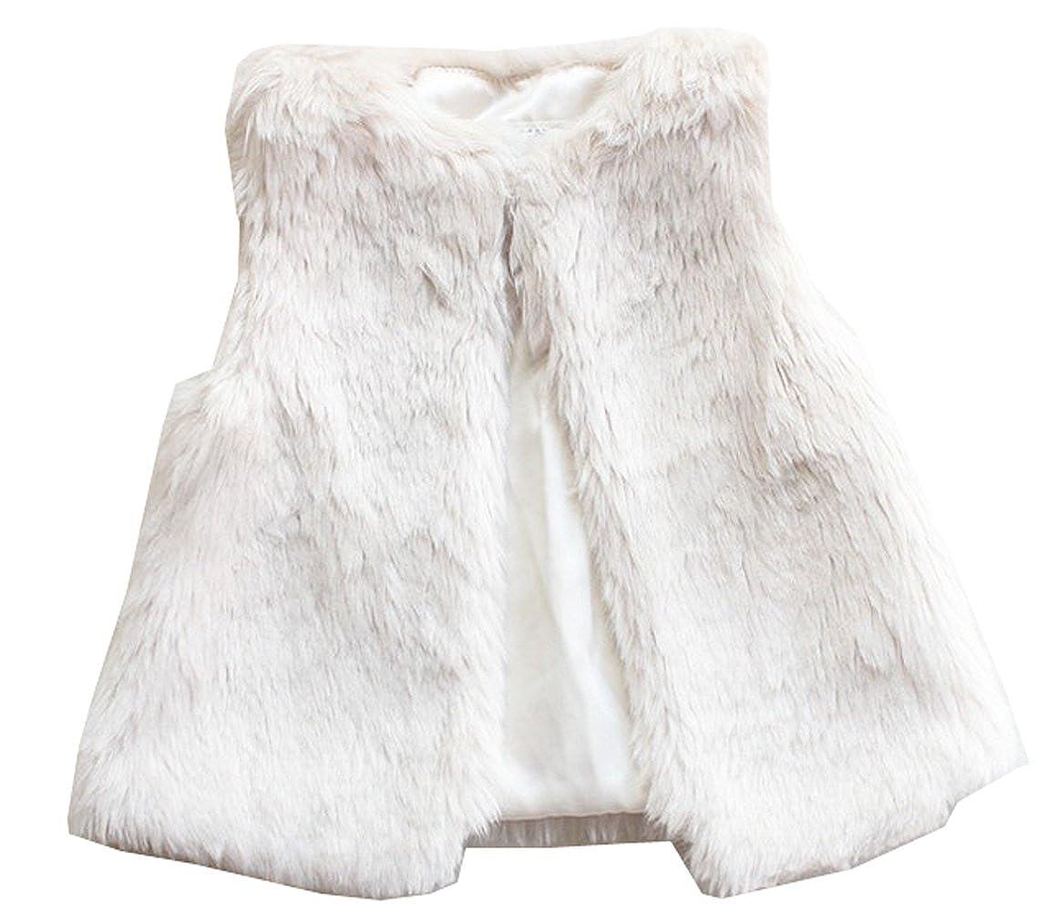 730eee63d Amazon.com  Baby Little Girls White Fur Vest Outerwear  Clothing