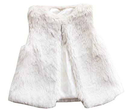 0073a46095a3 Amazon.com  Baby Little Girls White Fur Vest Outerwear  Clothing