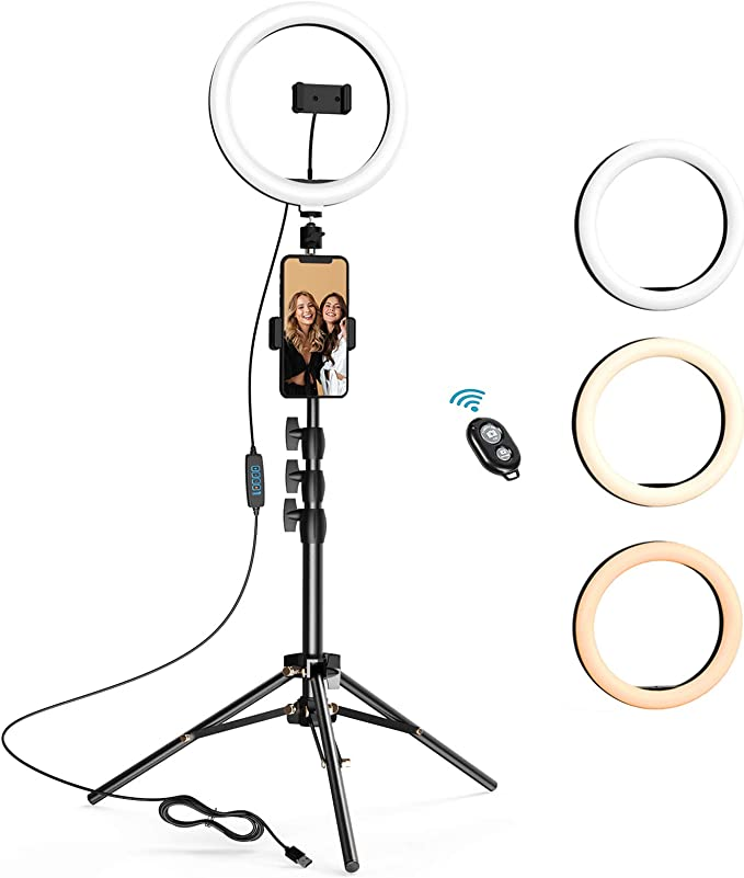 FDGBCF Portable Selfie Video Ring Light Dimmable 24W LED Lamp Ring Light Camera Phone Photography Enhancing with Phone Holder Ring Light,EU