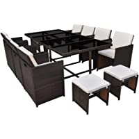 vidaXL Outdoor Dining Set 33 Pieces Black/Brown Poly Rattan