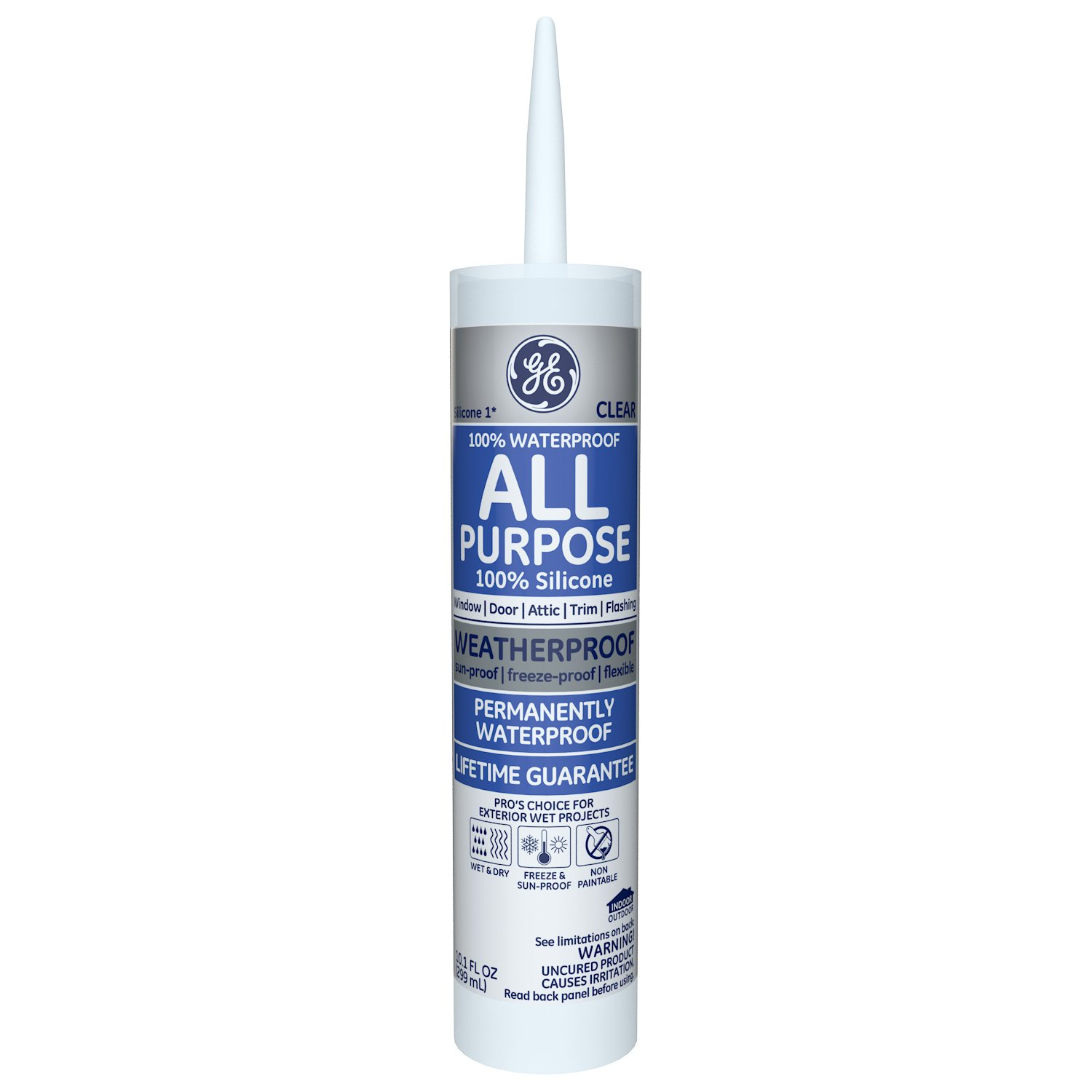Momentive Performance Materials GE012A Silicone I Window and Door Caulk with 10.1-Ounce Cartridge, Clear