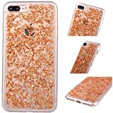 iPhone 6+ / 6s+ Plus Foil Gold Embedded Flakes Clear Thin Luxury Glitter Leaf Bling Slim Fit Durable Protective Shockproof Flexible Accessories Case Apple Cover [Tpu Gel] By Tech Express (Rose Gold)