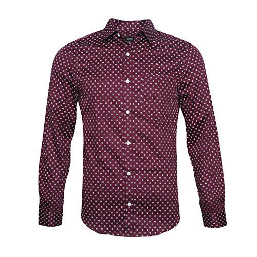 NUTEXROL Men's Casual Slim Fit Cotton Polka Dots Long Sleeve Dress Shirts Wine - Shops Bellevue Square