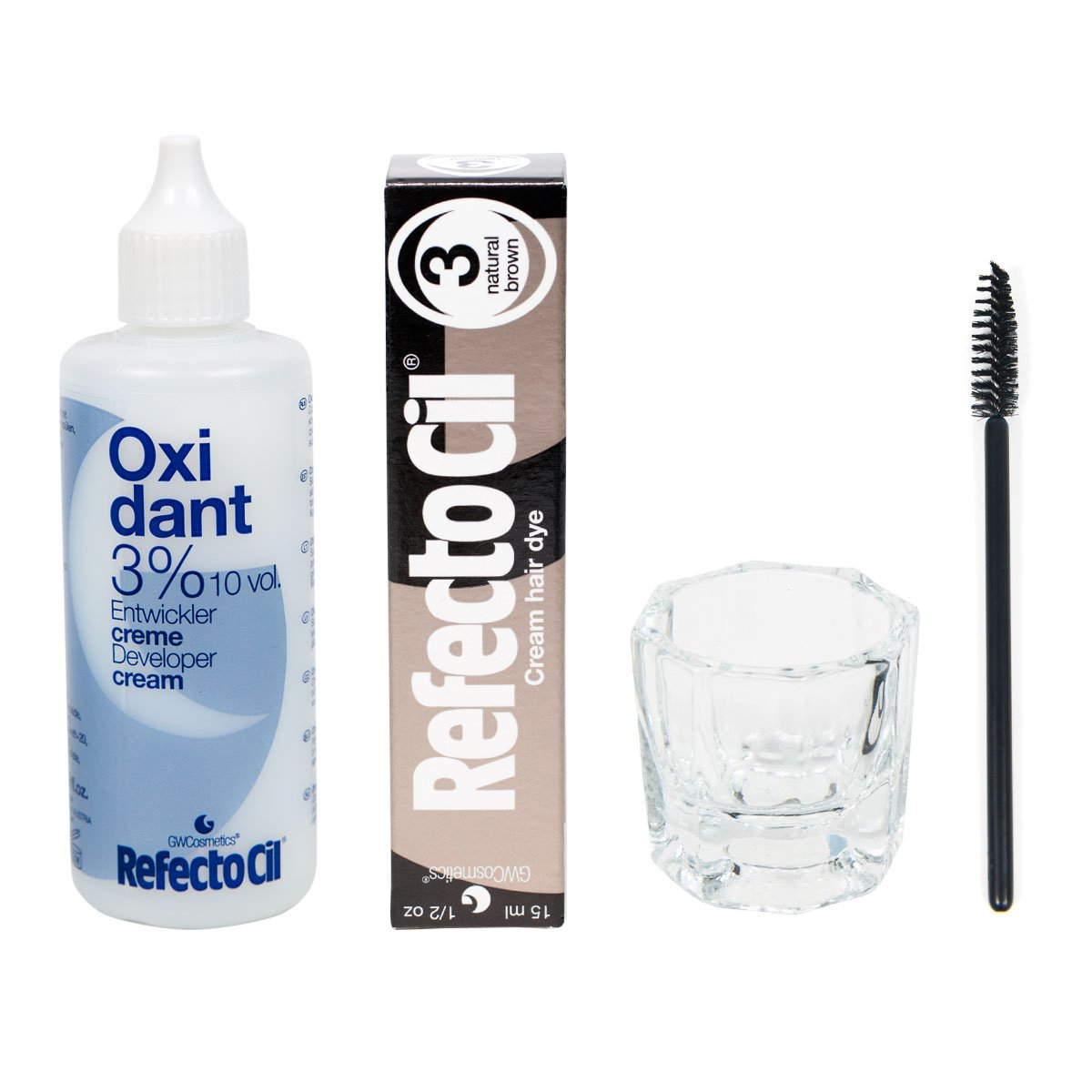 Refectocil KIT - Natural Brown Cream Hair Dye + Creme Oxidant 3% 3.4oz + Mixing Dish + Mascara Brush by RefectoCil