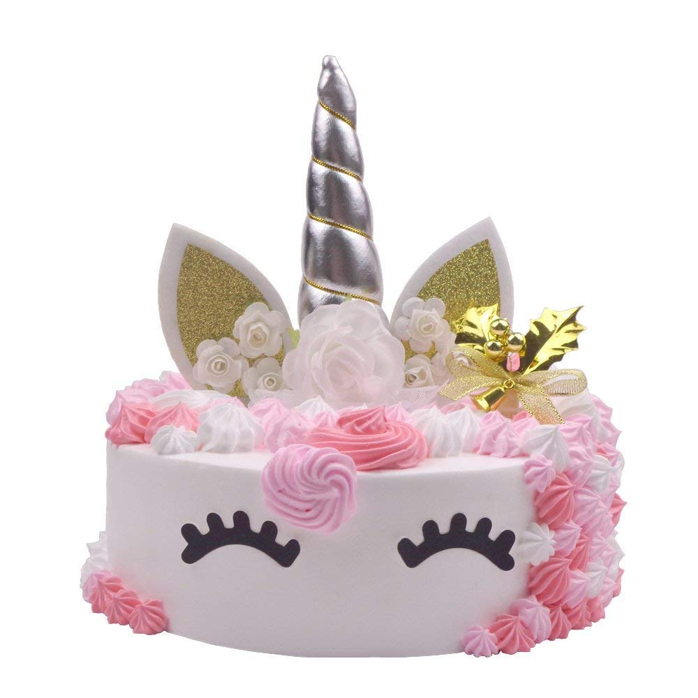 United Unicorns Silver Handmade Unicorn Party Birthday Cake Toppers Set Horn Ears And Flowers With Eyelashes Decoration For Baby Shower
