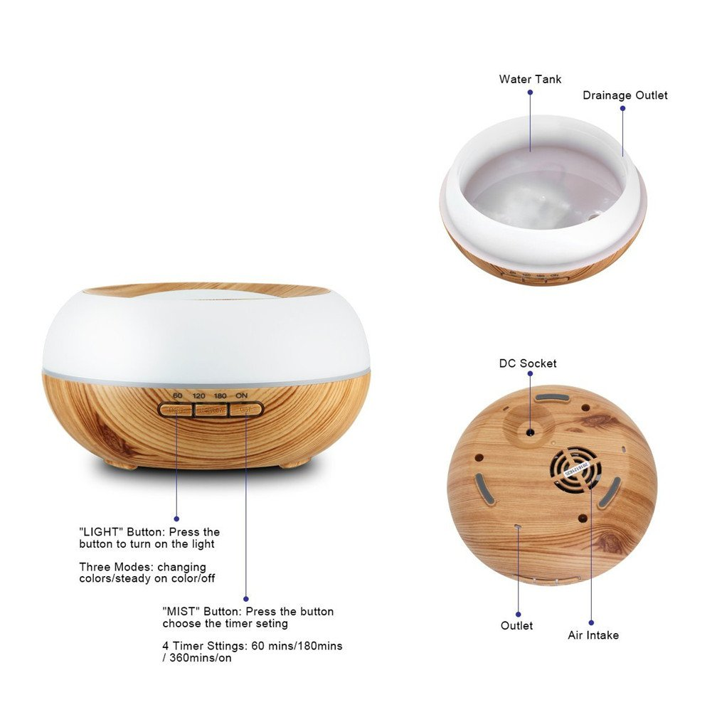 TRADE Yellow Wood Grain Ultrasonic Spray 7 Color Changing Waterless Auto off Perfect Night Companion 300ML Essential Oil Aromatic Air Diffusion Roundness Beauty Humidifier by TRADE® (Image #3)
