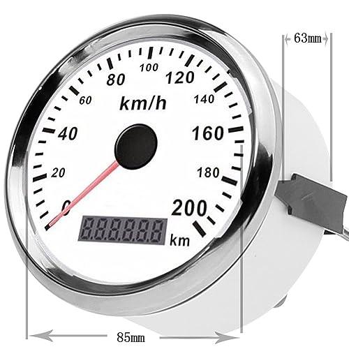 """GOGOLO Universal 3.3""""GPS Digital 0-200 KM/H Compteur de vitesse Appareil compteur kilométrique Instruction Remplacement Vitesse étanche Débit kilométrique Indicateur pour véhicule 12V/24V Bateau SUV"""