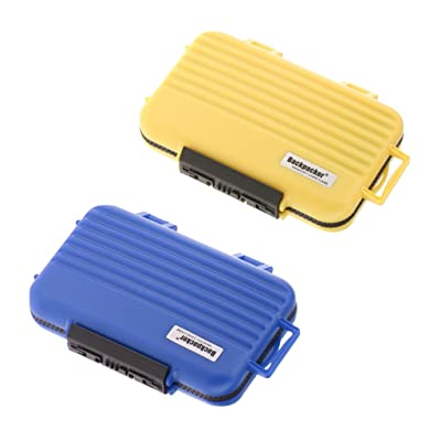 Homyl 2x 24 Slots Carte Mémoire, Résistant à l'Eau Anti-Choc Anti-Chute Couvercle de Protection SD / TF / CF Boîte de Rangement - Jaune + Bleu