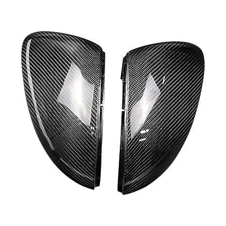 LAQVQ Cubierta Carcasa Espejo Retrovisor Fibra de Carbono Izquierdo Derecho Espejos retrovisores completos ABS Mate Cromado (Paquete de 2) Ajuste para ...