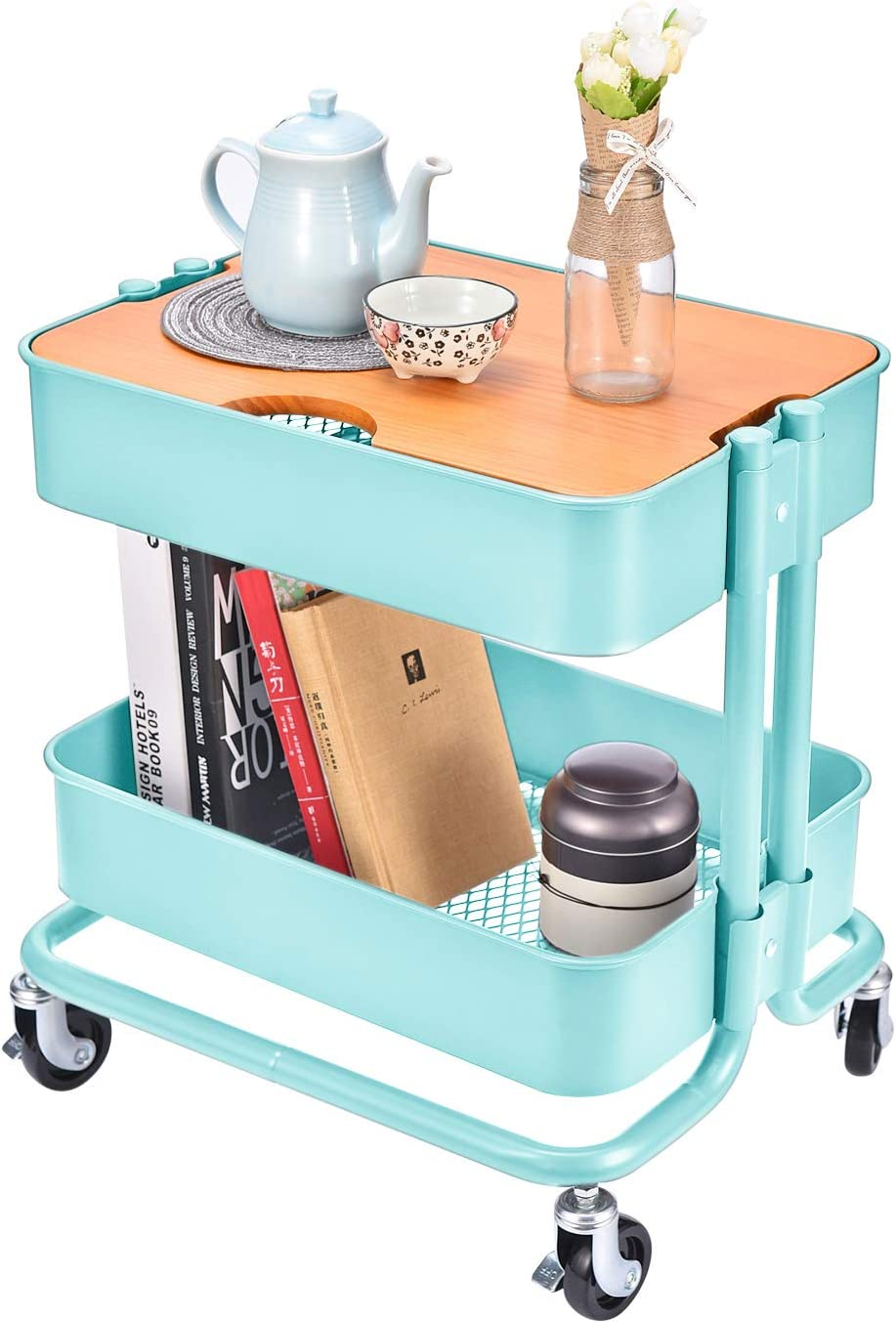 2-Tier Metal Utility Rolling Cart Storage Side End Table with Cover Board for Office Home Kitchen Organization, Turquoise