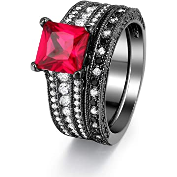 Double Fair Womens Black Gold Emerald Red CZ Diamond Engagement Gifts Wedding Bridal Rings Bands Set