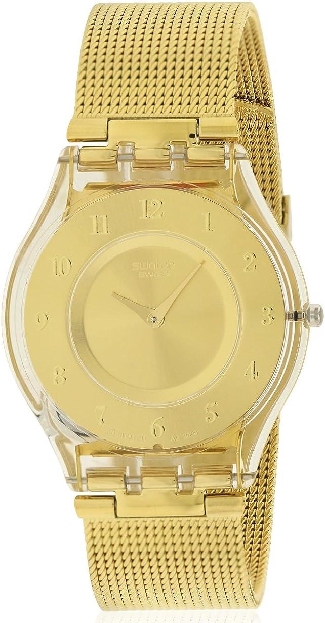 Swatch generosidad oro Dial Ladies malla reloj sfk355m