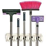 Mop and Broom Holder, Multipurpose Wall Mounted Organizer Storage Hooks, Ideal Broom Hanger for Kitchen Garden and Garage (5 Position 6 Hooks)