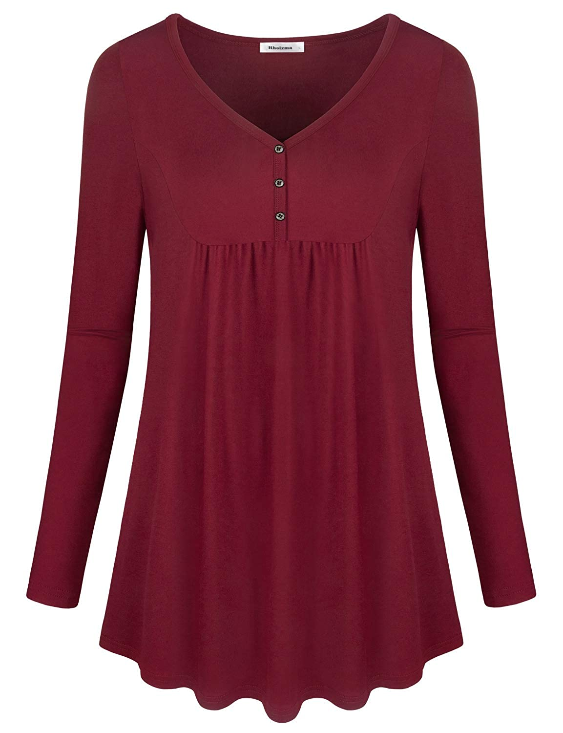 d7b6aaefe6b Online Cheap wholesale Rhoizma Womens Long Sleeve Tunic Tops,Button V Neck  Pleated Casual Shirts Tunics Suppliers