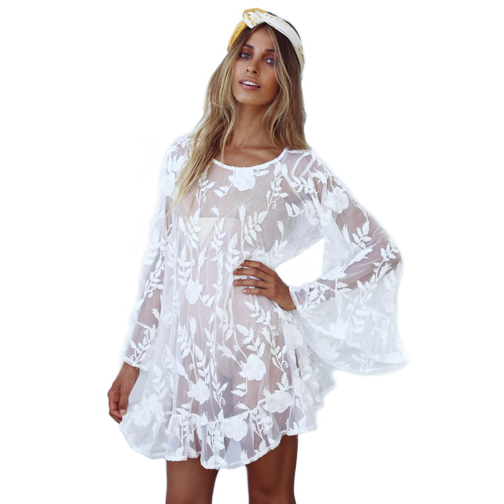 S-R VISION Women's Crochet Boho Lace Bikini Cover up Solid Long Flare Sleeve Mesh See-Through Beach Dress for Women sr-vision