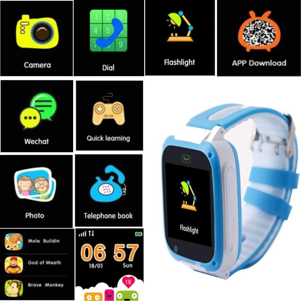 hangang GPS Tracker Smart Watch pour enfants, Smartwatch pour filles garçons Phone Watch chambre SOS Alarm Clock, Smart Watch pour enfants Garçons Filles Anniversaire grands cadeaux bleu