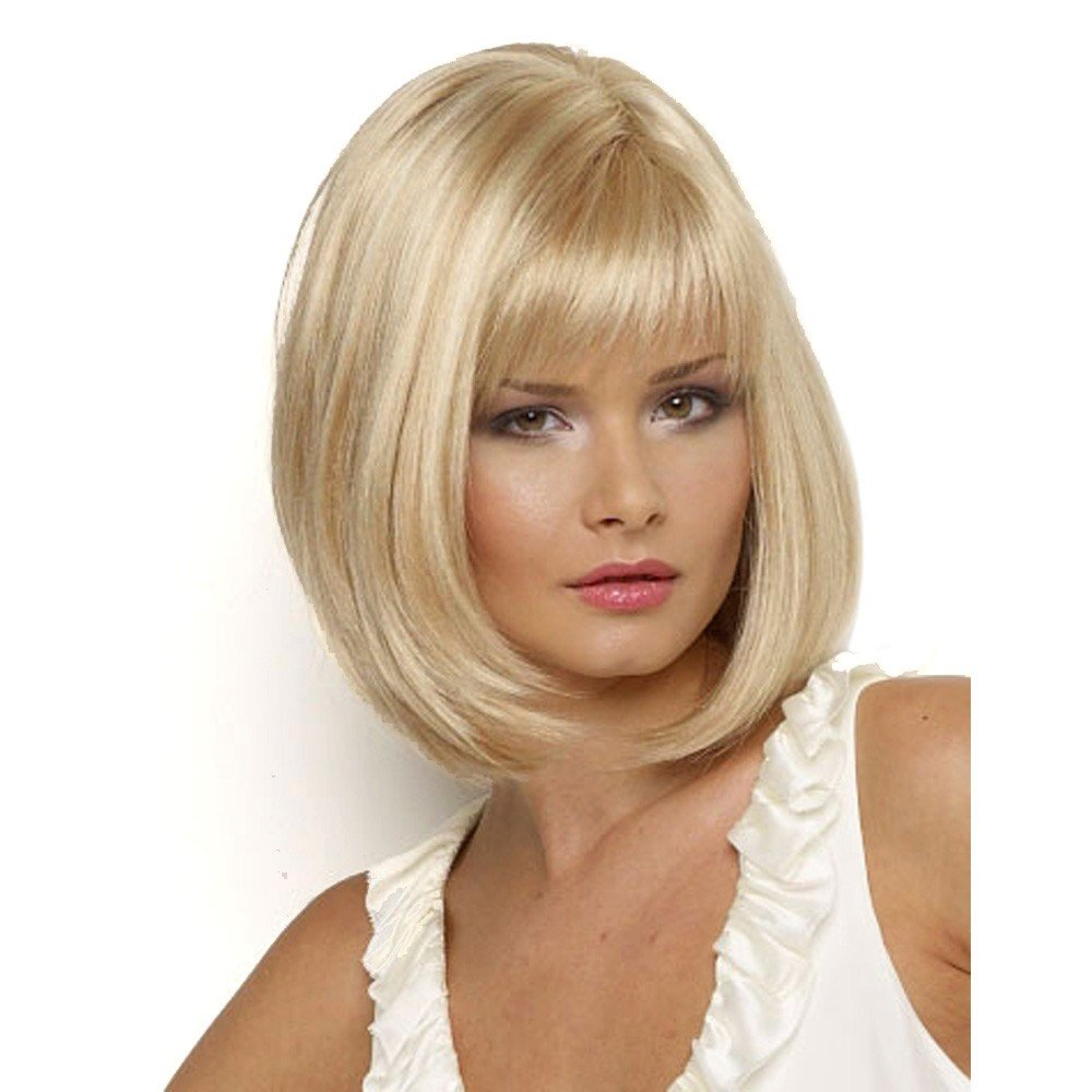 MILISI Blonde Bob Wigs for White Women Short Straight Synthetic Hair Wig With Bangs Cosplay Costume Premium full Wigs + 1 Free Wig Cap