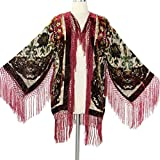 Aris A Women Velvet Burnout Silk Fringe Kimono Jacket with Floral Details