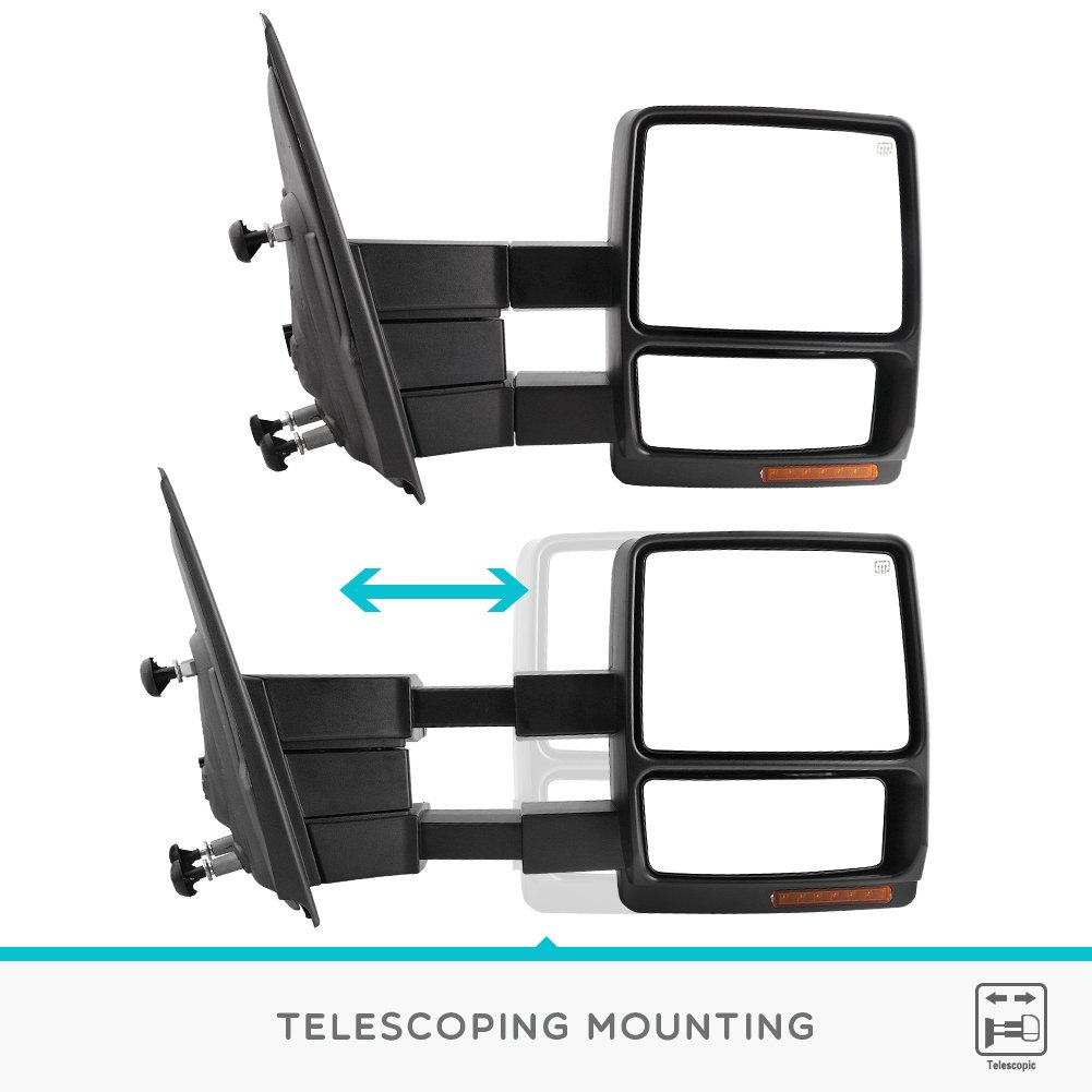 Yitamotor Towing Mirrors For Ford F150 Power Heated With Tow Mirror Wiring Diagram Led Signal And Puddle Light Pair Set 2007 2014 Series