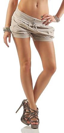 4d19bfd5b23e40 Mississhop 166 Damen Hot Pants Sommer Chino Cargo Shorts Luftige Kurze Hose  Stretch Hotpants Short mit