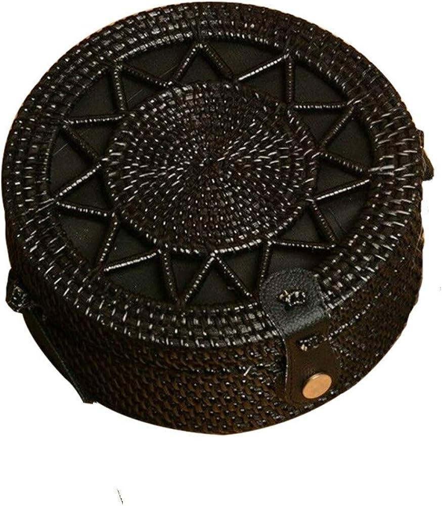 Kbinter Handwoven Round Rattan Straw Bag for Women Shoulder Leather Button Straps Natural Chic Handmade Boho Bag Bali Purse