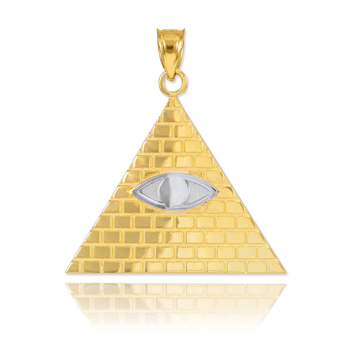 Fine 10k Two-Tone Gold Pyramid Charm All Seeing Eye of Providence Illuminati Pendant