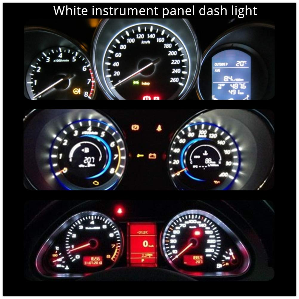 WLJH T10 Led Bulbs W5W 194 PC195 PC194 PC168 Twist Socket Dashboard Instrument Cluster Interior Lights Map Dome Light Bulbs Dash Lights 12V Extremely Bright Ice Blue,Pack of 6