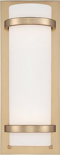 Minka Lavery Wall Sconce Lighting 341-248 Glass 2 Light 200 Watt 17 H x 6 W Sconce Light in Brass