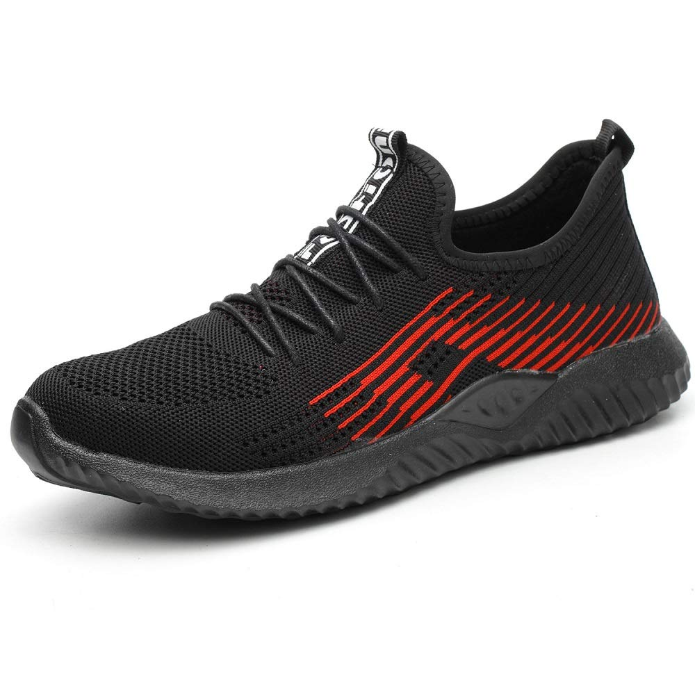 SUADEX Steel Toe Shoes for Women Men, Anti Slip Safety Shoes Breathable Lightweight Puncture Proof Work Construction Sneakers Black C Size 6.5-7