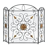Fireplace Screen, Decorative Fireplace Screens Black - Iron Mesh Three Panel