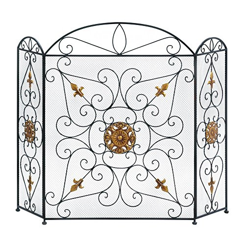 Fireplace Screen, Decorative Fireplace Screens Black - Iron Mesh Three Panel by Accent Plus