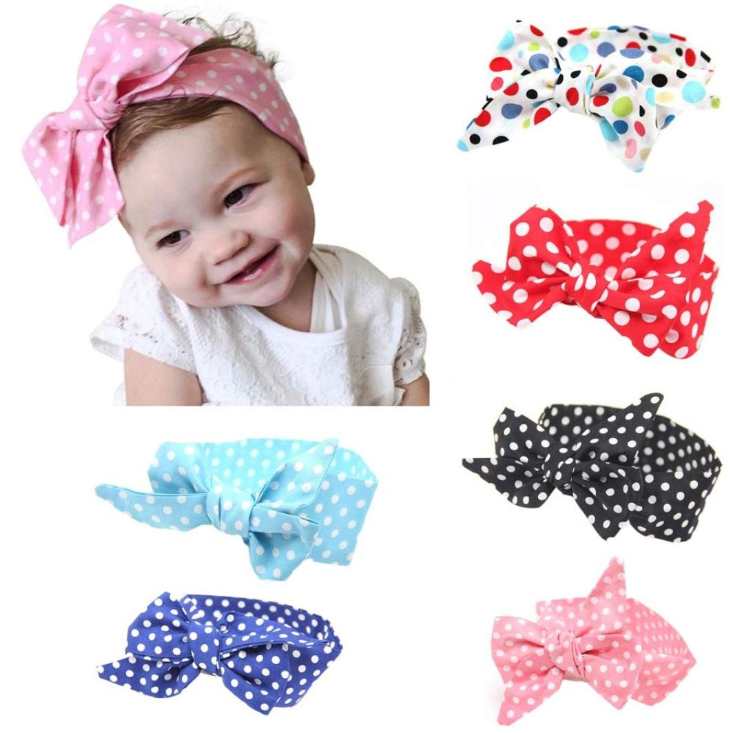 Clearance! Baby Girls Headband, 6 Packs Super Stretchy Cute Wave Spot Baby Headbands Turban Knotted Newborn Toddler Hairbands (Free, Multicolor) by Challyhope Hairbands