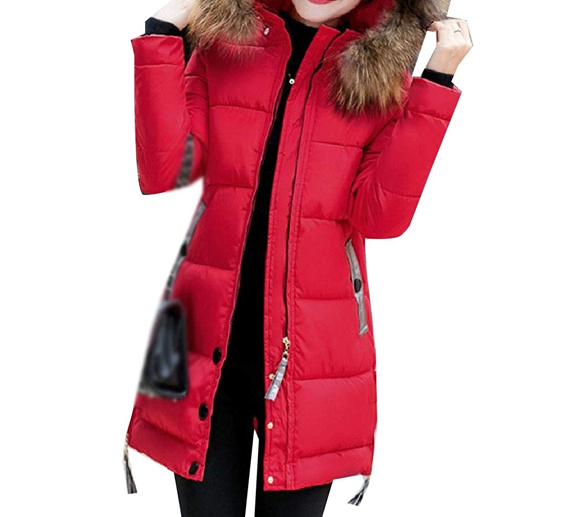 YUNY Womens Hood Faux-Fur Trim Topcoat Classic Simple Padded Outwear Red 3XL