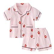 BINIDUCKLING Unisex Baby Sleepwear, Toddler Girl Button Up Pajamas Set Kid Cotton Pajama Top and Bottom Pink Strawberry 18M