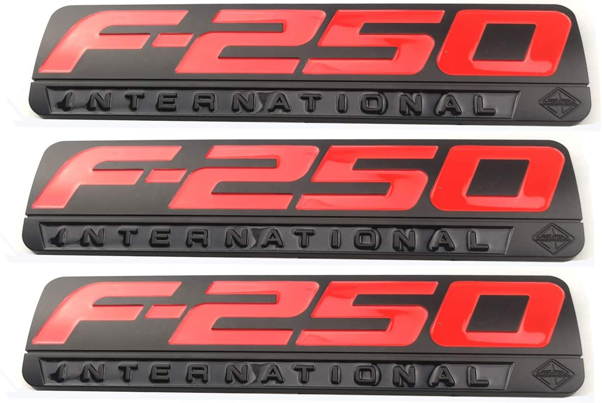 2 PCS F-250 INTERNATIONAL Emblem 3D Nameplate Badge Logo Decal Replacement for F250 Chrome Black