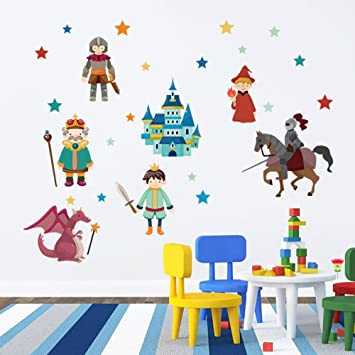 DecalMile Knight And Dragon Wall Decals Castle Wall Stickers Peel And Stick  Removable Vinyl Wall Art