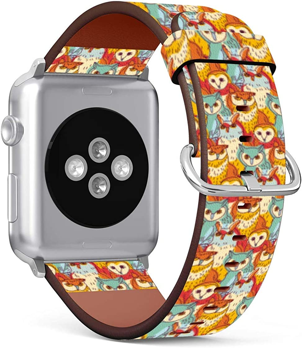 Patterned Leather Wristband Strap Compatible with Apple Watch Series 5/4 / 3/2 / 1, 42mm / 44mm Bands Replacement (Owls Wallpaper)