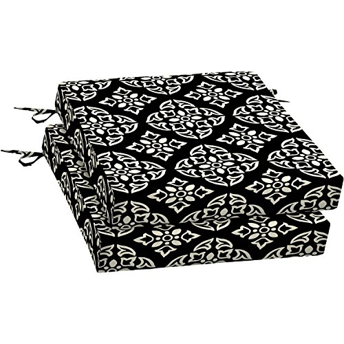Outdoor Patio Dining Seat Cushion, Black White Medallion with Durable Outdoor Fabric. Filled 100% Polyester Set of 2