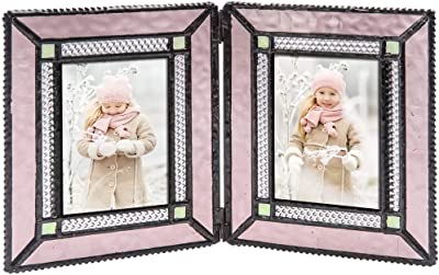 J Devlin Pic 417-2 Double Picture Frame Holds Two 2.5 x 3.5 Photo Frame Dusty Pink Stained Glass School Pictures Multiple Photos