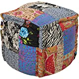 "Surya POUF-93 Hand Made 100% Cotton Purple 18"" x 18"" x 18"" Pouf"