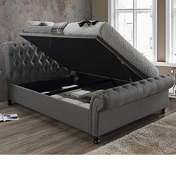 Surprising Velvet Ottoman Bed Happy Beds Castello Grey Fabric Ibusinesslaw Wood Chair Design Ideas Ibusinesslaworg