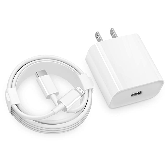 iPhone Fast Charger - MFi Certified - 20W USB C Fast Wall Charger with 6FT C to Lightning Cable Type C Charger Adapter for iPhone 12/12 Mini/12 Pro/12 Pro Max/11 Pro Max/XS Max/XS/XR/X,iPad Pro