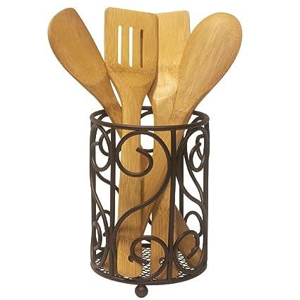 Fancy Heavyweight Rust Resistant Countertop Bronze Kitchen Cutlery U0026  Utensil Holder