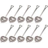 Tea Filter Long Grip Stainless Steel Mesh Heart Shaped Tea Strainer Spoon, Set of 10 Tea Infuser Spoon, 10 Pcs