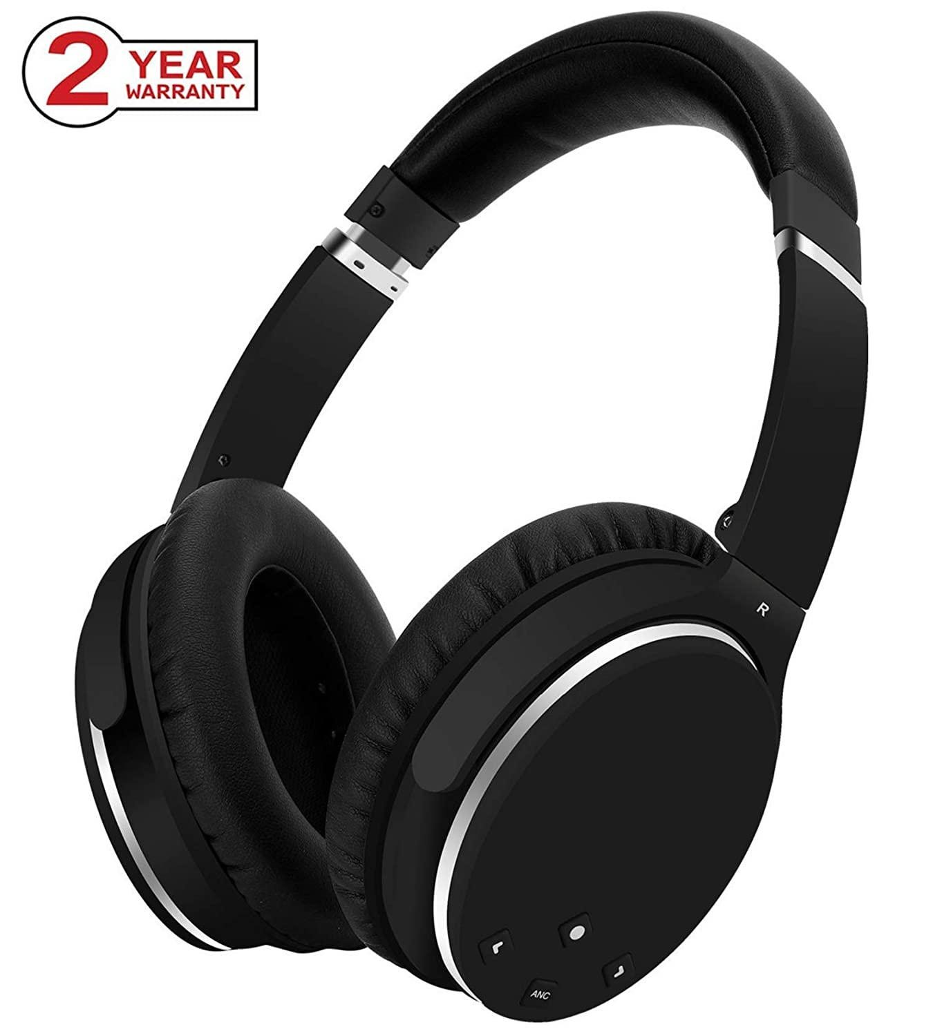 Active Noise Cancelling Headphones,Bluetooth Headphones with Microphone, Over-Ear Deep Bass Wireless Hi-Fi Stereo Headphones for Cell Phone/TV/PC -Black